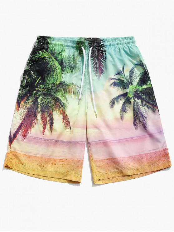 Beach Coconut Tree Print Board Shorts - متعدد M