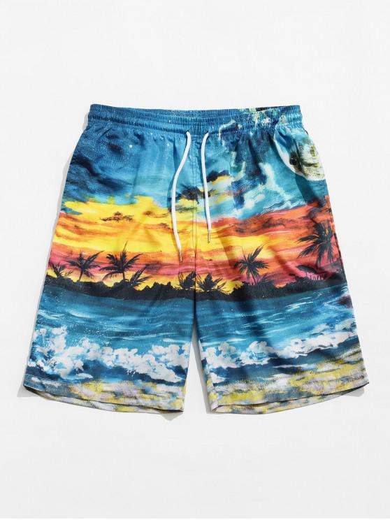 Beach Scenic Printed Board Shorts - متعدد M
