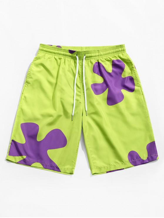 affordable Floral Print Drawstring Board Shorts - AVOCADO GREEN XL
