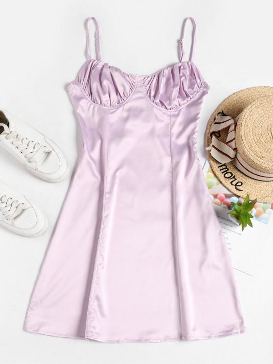 shops Backless Satin Flared Cami Dress - MAUVE S