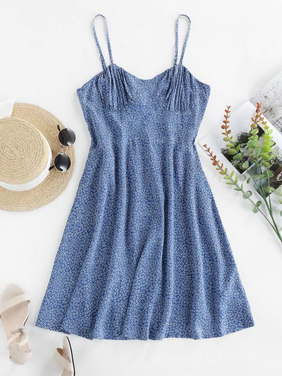 online ZAFUL Ditsy Print Shirred Cami Dress - BLUE KOI S