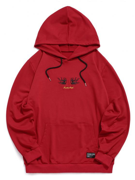 best Eye Embroidery Casual Pocket Hoodie - RED 2XL