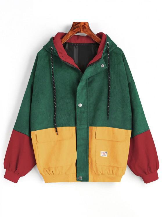 sale Hooded Color Block Corduroy Jacket - GREEN S
