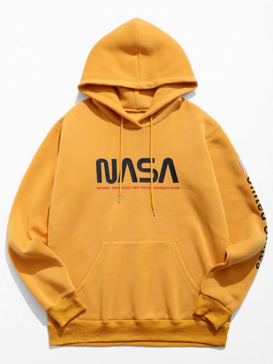 Buchstabe Grafik Amerikanische Flaggendruck Känguru Taschen Hoodie - Biene Gelb XL