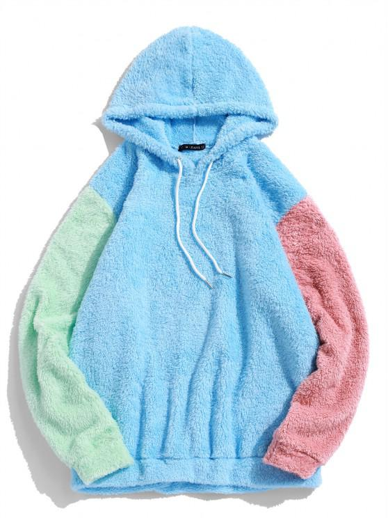 unique ZAFUL Color-blocking Splicing Fuzzy Pullover Hoodie - LIGHT SKY BLUE L