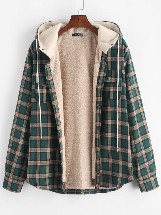 fashion Plaid Chest Pocket Fleece Drawstring Hooded Jacket - MEDIUM SEA GREEN S