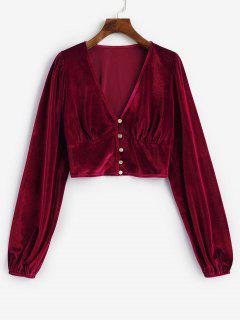 Velvet Buclă Button Plunge Crop Top - Roșu M