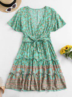 Belted Ditsy Floral Surplice Mini Dress - Multi-a S