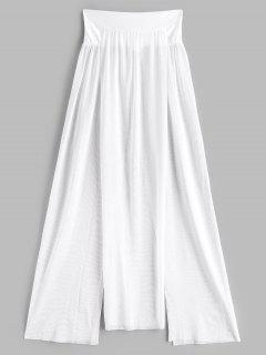 Maschen Durchsehendes Schlitz Cover-Up Rock - Weiß