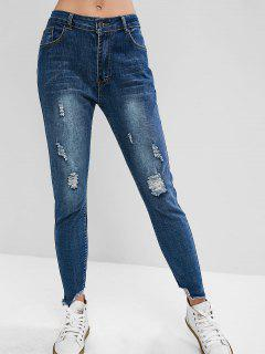 Distressed Zipper Fly Skinny Jeans - Blue S