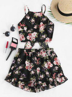 ZAFUL Flower Tie Back Ruffle Wide Leg Shorts Set - Black M