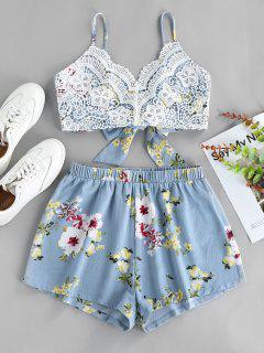 ZAFUL Flower Crochet Knot Cami Two Piece Set - White S