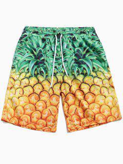 Pineapple Print Drawstring Board Shorts - Mustard L