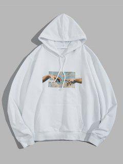 Helping Hands Graphic Front Pocket Lounge Hoodie - White Xs