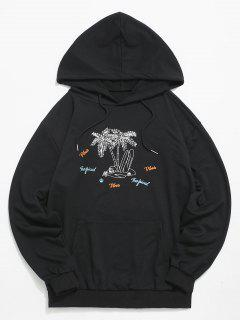 Coconut Tree Print Casual Hoodie - Black S