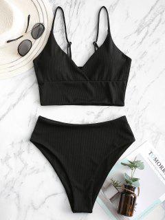 ZAFUL Ribbed High Cut Surplice Tankini Swimsuit - Black L
