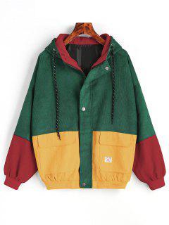 Hooded Color Block Corduroy Jacket - Green Xl