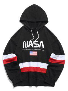 ZAFUL American Flag Color Blocking Letter Print Hoodie - Black S
