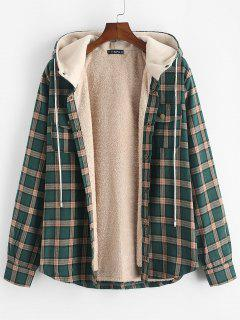 Plaid Chest Pocket Fleece Drawstring Hooded Jacket - Medium Sea Green 2xl