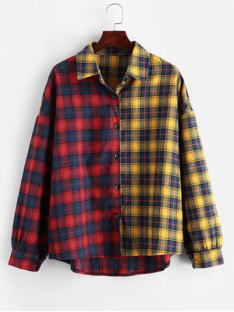 womens Contrast Plaid Drop Shoulder Button Up Shirt - MULTI-A M Mobile