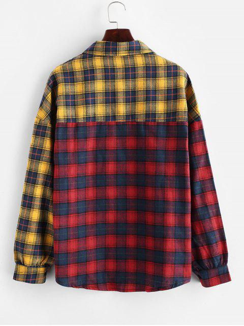 ladies Contrast Plaid Drop Shoulder Button Up Shirt - MULTI-A L Mobile
