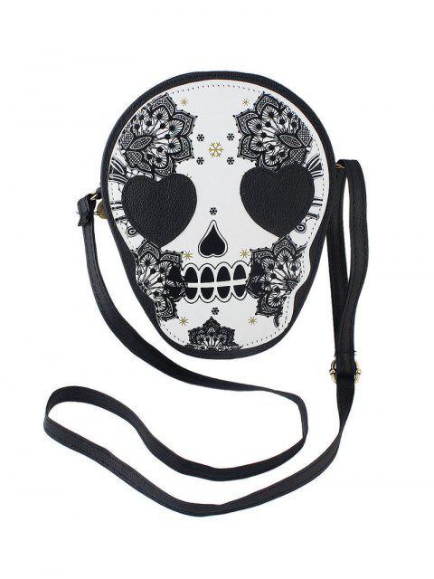Mini Bolsa de Bandolera con Estampado de Flores de Cuero - Negro  Mobile