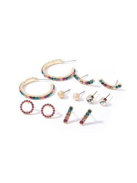 Conjunto de Aretes de Diamantes de Imitación Geométricos - Multicolor  Mobile