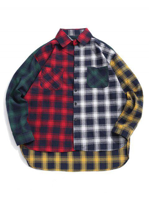 unique Plaid Print Spliced High Low Button Shirt - RED XL Mobile