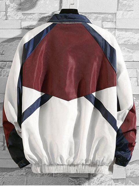 latest Letter Embroidery Colorblock Splicing Raglan Sleeve Jacket - RED L Mobile