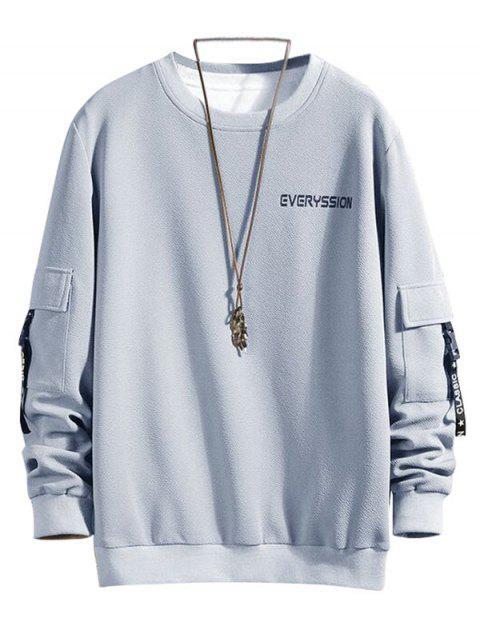 字母打印扣帶緞帶口袋運動衫 - 灰色雲彩 L Mobile