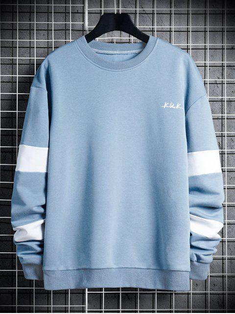信對比度面板圓領運動衫 - 輕的天藍色 L Mobile