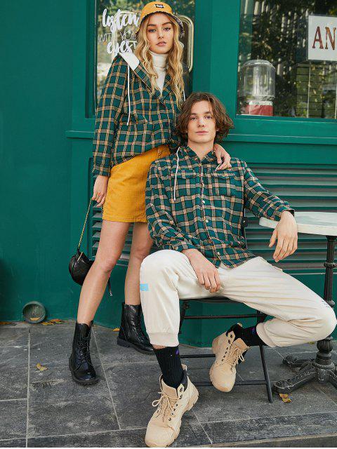 chic Plaid Chest Pocket Fleece Drawstring Hooded Jacket - MEDIUM SEA GREEN M Mobile