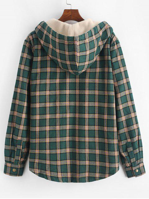 fashion Plaid Chest Pocket Fleece Drawstring Hooded Jacket - MEDIUM SEA GREEN S Mobile