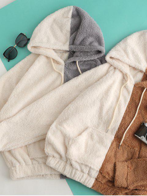 women Colorblock Front Pocket Fluffy Drawstring Hoodie - MULTI-B XL Mobile