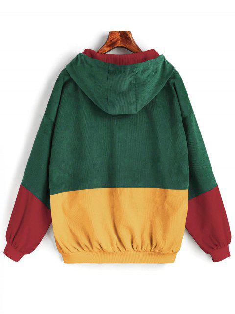 Chaqueta de Pana Chaqueta de Pana de Bloque de Color Encapuchado - Verde M Mobile