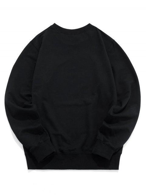 圖形打印圓領運動衫 - 黑色 M Mobile