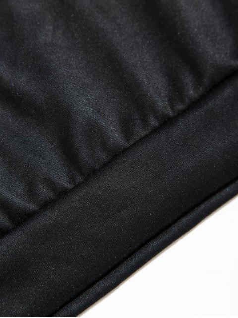 Sudadera con Capucha con Bolsillo y Estampado de Letras - Negro 4XL Mobile