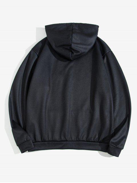龍東方豹紋抽繩連帽外套 - 黑色 M Mobile