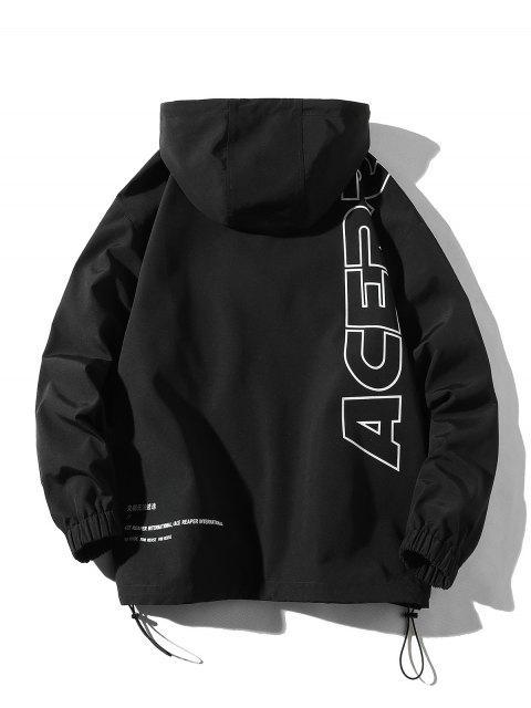 Chaqueta con Capucha Casual con Estampado de Letras - Negro 4XL Mobile