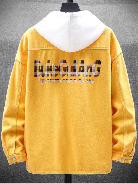 Chaqueta Casual con Botón y Estampado de Letras - Amarillo 3XL Mobile