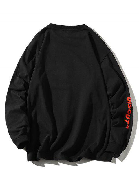 Camiseta con Estampada de Letras y Cuello Redondo - Negro 2XL Mobile