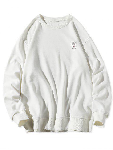 動物圖中的字母打印圓領運動衫 - 白色 XL Mobile