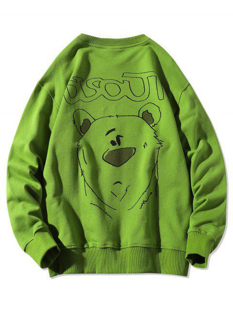 動物圖中的字母打印圓領運動衫 - 三葉草綠色 XL Mobile