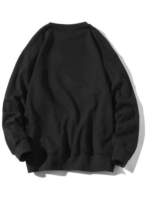 信圖形打印圓領套頭衫貼花 - 黑色 2XL Mobile