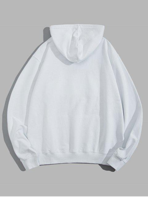 shop Helping Hands Graphic Front Pocket Lounge Hoodie - WHITE M Mobile