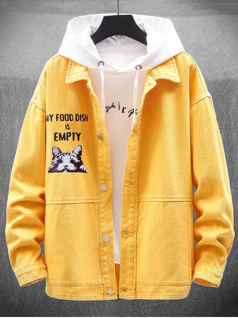 Chaqueta Casual de Impresión de Gato - Amarillo M Mobile