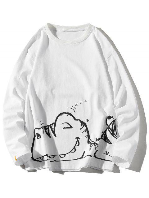 Camiseta de Cuello Redondo con Mangas Largas con Estampado de Animal - Blanco 3XL Mobile