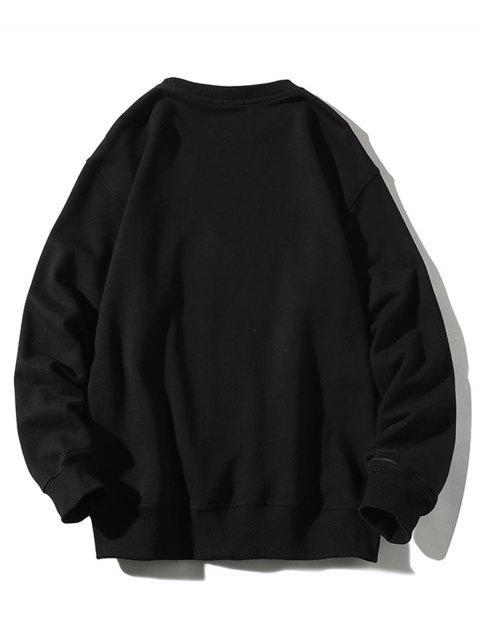 信紮染打印貼花圓領運動衫 - 黑色 4XL Mobile