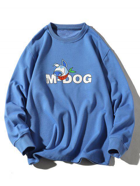 卡通狗字母打印圓領運動衫 - 絲藍色 XL Mobile