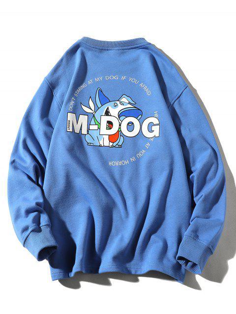 卡通狗字母打印圓領運動衫 - 絲藍色 4XL Mobile